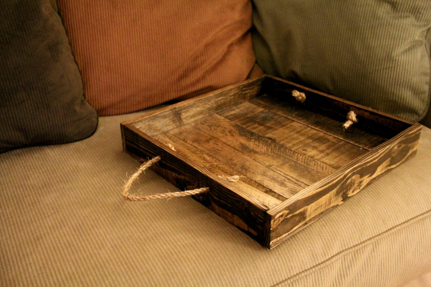 Items Similar To Mini Reclaimed Pallet Wood Furniture Serving Tray Stained On Etsy