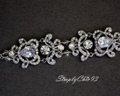 Wedding Bracelet, Bridal Bracelet, Crystal Flower Bracelet, Victorian Bracelet, Vintage Style jewelry, Swarovski Bracelet, (Veronica)