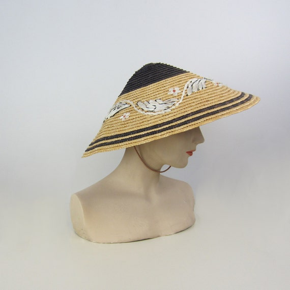 Reserved Vintage 1950s Straw Coolie Hat Asian Straw Hat