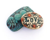 Polymer Clay Boho Love Bracelet Cuff - Distlefunk2