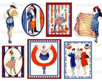 July 4th Bastille Day Patriotic Art Deco American and French Flag Ladies Red, White and Blue