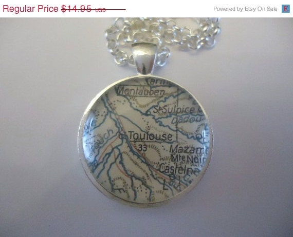 Pendant Toulouse south- west of France vintage map jewelry pendant by parisjewelryaisha ask your favorite country place or city