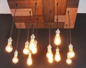 Mosaic style reclaimed pine floor light with edison bulbs