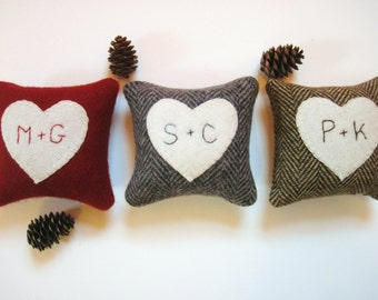 Valentine Pillow, Personalized Pillow, Balsam Heart Pillow, Valentines Day Decor, Rustic Heart Pillow, Gray, Red, Brown Pillow, 4x4 pillow