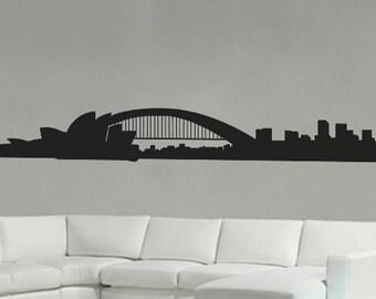 Sydney Opera House & Harbour Bridge - Wall Decal Vinyl Decor Art Modern Removable Sticker Mural uBer Decals A726dern