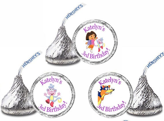 108 Personalized DORA EXPLORER Birthday Party Favors Candy Kiss Labels Stickers