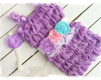 Lavender Petti Romper with Shabby Chic Headband and Sash-Girls 1st Birthday Outfit-Lace romper with M2M Headband
