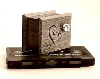 "Engagement gift romantic memories music box heart wooden ""Love Story"""