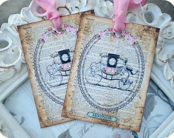 Fairytale Gift Tag (6) Shabby Gift Tags-Dreams Come True-Carriage-Wedding Gift Tag-Favor Tags-Treat Tags-Birthday Gift Tags-Bridal Gift Tags