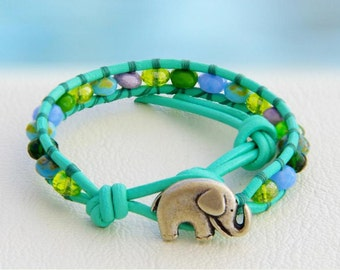 Seafoam... Leather wrap bracelet... Original OceanBead style.