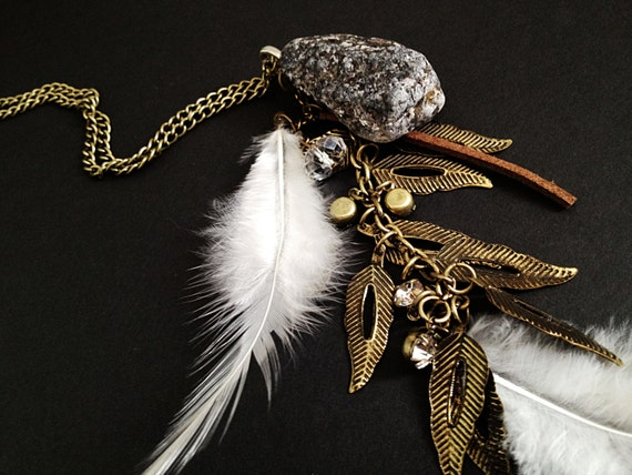 SALE- Dream Catcher Necklace. Natural Stone. Feather. White. Rhinestones. Crystal. Leather. Brown. Gray. Brass Chain. Boho. Hippie.
