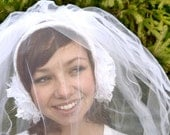 RESERVED FOR COURTNEY -- Wedding Bridal Ear Muffs with attached Two Tiered Tulle Veil