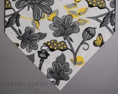 """Gray and Yellow Table Runner, Secret Garden Large Table Runner/72"""" Table Runner, Black, Yellow, Gray and White/Home Decor/Table Accents"""