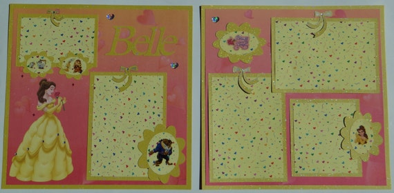 "Disney Princess: Belle 12 x 12"" Premade Scrapbook Page (ON HOLD for Judy) Revised 2 Pg Layout"