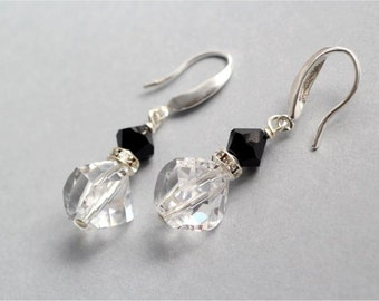 Swarovski Crystal Earrings, Crystal Clear Helix Beads, Jet Bicone Beads, Sterling Silver Earwires. Bridal, Bridesmaid, Wedding. Gift. E199.