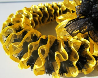 Hawaiian Ribbon Lei Yellow/Gold and Black Picot Edge