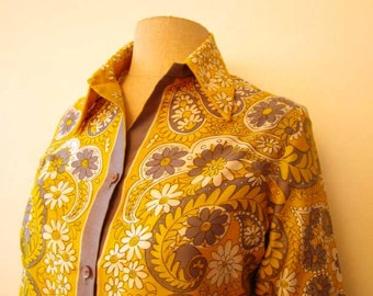 Yellow Paisley and Daisy print Vera blouse-Size M/L