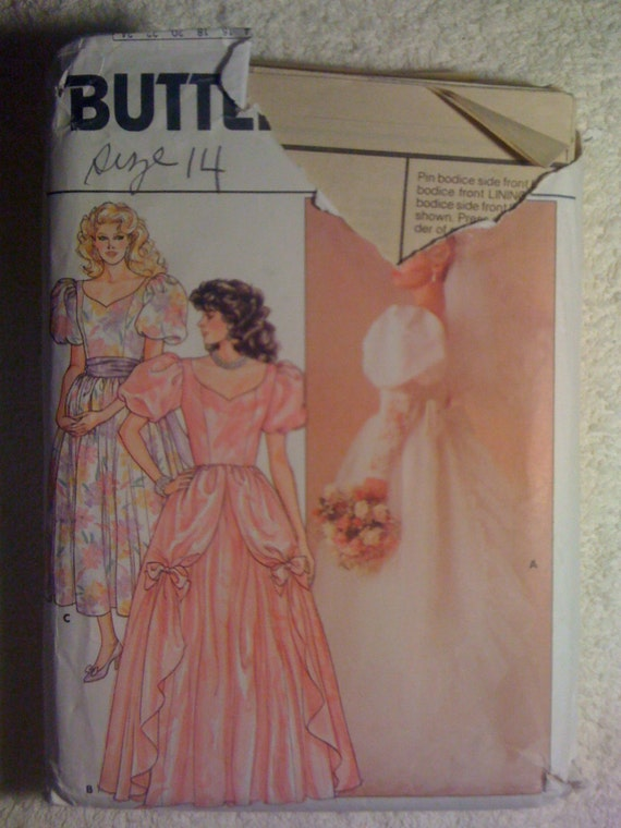 Butterick 80s Sewing Pattern 3685 Misses Bridal Gown Size 14 Sale