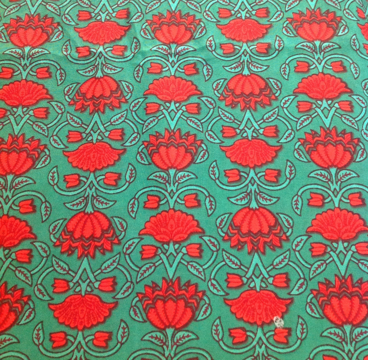 Floral print cotton fabric green and red printed by for Printed cotton fabric