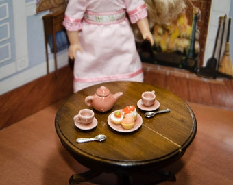 Choose Your Color Tea Party Accessories: Green, Pink, Yellow, Peach for American Girl Doll Mini, Barbie, BJD Tarts, Plates, Teacups, Food