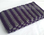 Crochet Scarf, Purple and Gray Grey Striped Womens Scarf Handmade, For Her