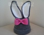 Baby Bunny Hat with Bow Gray Bunny Rabbit Ears Newborn- Toddler Sizes, Easter Photo Prop