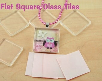 50 1 inch (25mm) Flat GlassTiles -  SQUARE Glass Tiles - Nice Quality for Glass Pendant Making