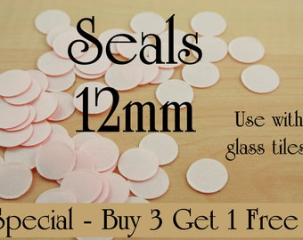 SALE Buy 75 Photo Seals Get 25 Free. 12mm Round. Use with Glass Domes. Receive 100 Seals with this listing.