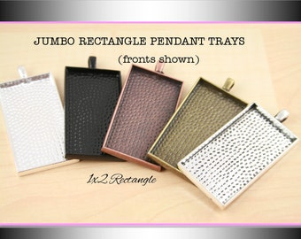 10 Blank Rectangle Pendant Trays - 1x2 Rectangle. Silver,Black, Antique Copper, Antique Bronze, Antique Silver.  Glass is sold separately.