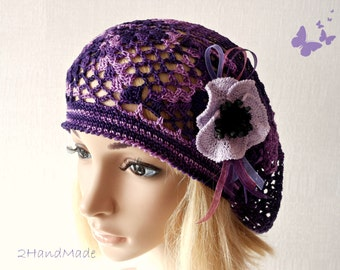 Lace Crochet Tam Dreads Hat Oversized Beret Slouchy Beanie Boho Women Girl Plum Purple Summer 2013 Cotton Vintage Style