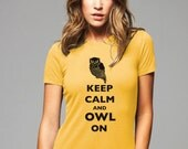 Keep Calm and Owl On T-Shirt - Soft Cotton T Shirts for Women, Men/Unisex, Kids