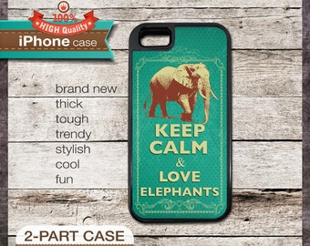 Keep Calm & Love Elephants - iPhone 6, 6+, 5 5S, 5C, 4 4S, Samsung Galaxy S3, S4