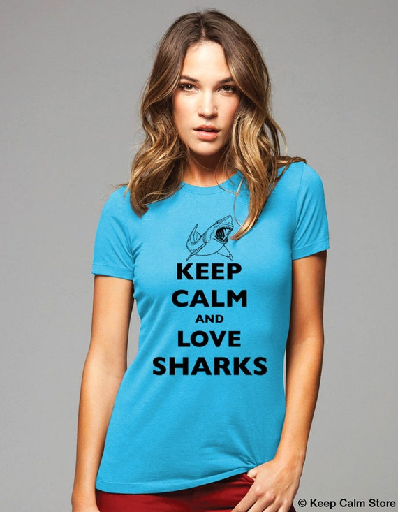 Keep Calm and Love Sharks T-Shirt - Shark Week Soft Cotton T Shirts for Women, Men/Unisex, Kids