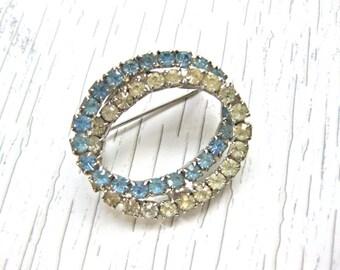 Blue Rhinestone Pin Brooch Oval Wedding Bridal Design Jewelery Gift For Her fashion Pretty