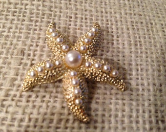Vintage Gold Tone Starfish with Tiny Pearls Brooch