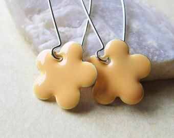 Dangle Drop Earrings - Pastel Peach Epoxy Enamel Flowers - Sterling Silver Plated over Brass (F-2)