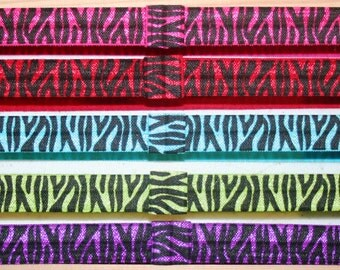 Choose 3 - Zebra, Damask and Glitter Dots - Printed Fold Over Elastic Headbands