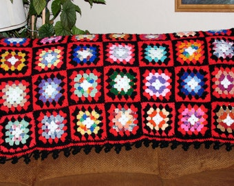 Crocheted Red & Black Scrap Granny Square Afghan