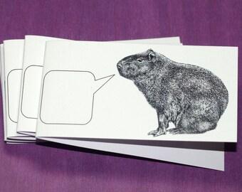 CROONING CAPYBARA ... Mini Notecards . Handmade Envelopes . Captioned Critters . Strange . Rodent . Gift Cards . Folded Notes