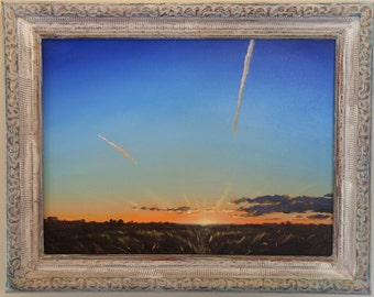 "Oil Landscape Painting: ""Lost to the West"" by Jeddin White - Original Midwest Skyscape"