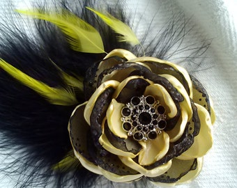 Bumblebee flower with feathers, black and yellow feathered fascinator, yellow and black wedding accessory, bee photography prop