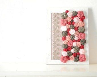 Fabric flower wall art Shabby chic Framed 3D design home decor White olive red pink - OOAK spring bouquet