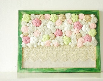 Baby room wall art 3D design Framed home decor Fabric flowers Cream green soft pink OOAK ready to ship