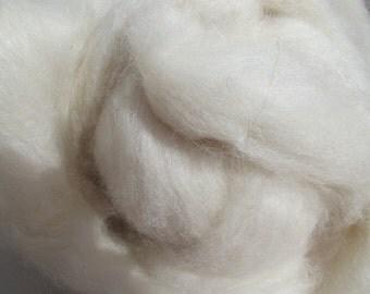 60/40 White Alpaca, White Tussah Silk blend, roving  8oz