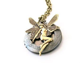 Gold Fairy Antique Locket Necklace Antique Silver Victorian Fairy Jewelry Faerie Wings Woodland Faery Necklace Mixed Metal Locket