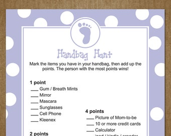 baby shower game handbag hunt wh ats in your purse purple blue