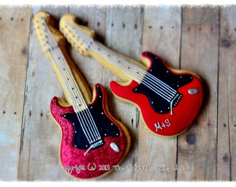 Electric Guitar Shortbread Sugar Cookies Favors by The Tailored Cookie