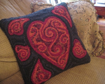 "15"" x 15"" Hooked Rug Pillow - ""Hearts and Chocolate in Reds & Blacks"""