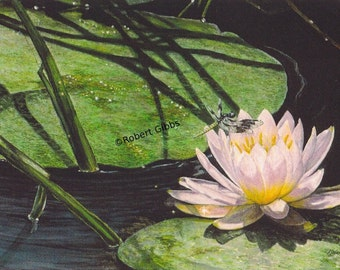 Lotus Painting Dragonfly Watercolor Painting Green and Pink Landscape Original Painting Wall Decor Zen Art Contemporary Fine Art Print