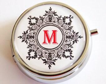 Monogram pill case, Personalized, Custom pill case, Pill Box, Case, Pill Container, black white, Mint case, pill case (2361)